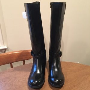 Black Faux Leather Riding Boots Sz 8 NWT